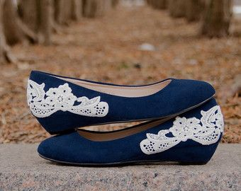 Low Navy Wedges, Navy Wedding Shoes, Lace Heels, Bridal Heels Low Wedge By  Walkin On Air