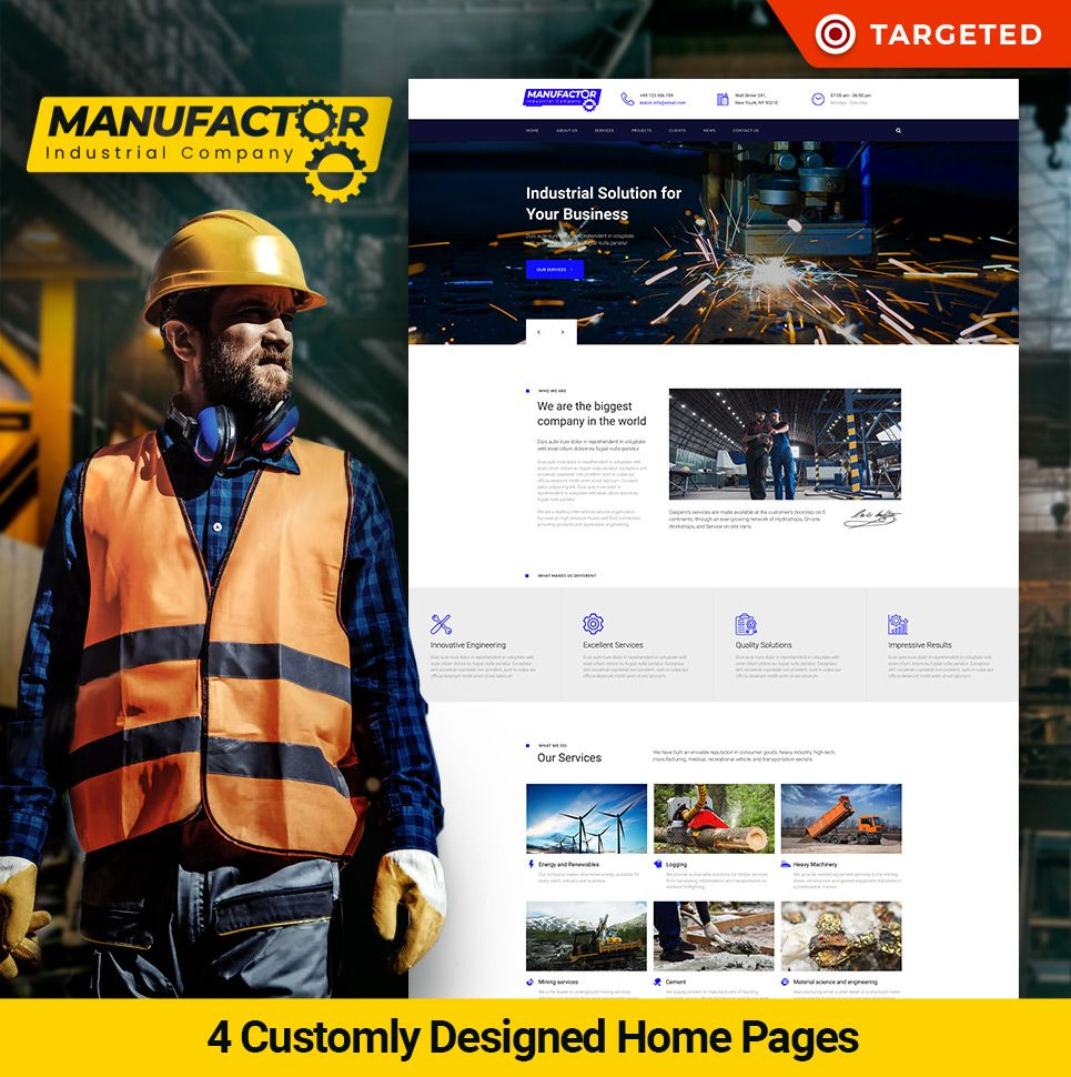 Manufacturer Website Template For Industrial Company Motocms Industrial Companies Design Website Design