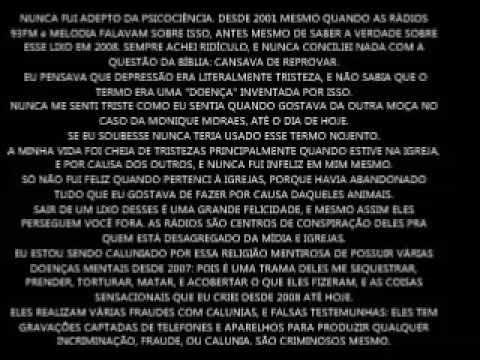 """A RELIGIÃO EVANGÉLICA ESTÁ ME CALUNIANDO DE """"DEPRESSÃO"""" PARA PROJETAREM ASSASSINATO, TORTURA, E PRISÃO EM HOSPÍCIO CONTRA MIM. NUNCA TIVE DEPRESSÃO, E SOU VÍTIMA DE VÁRIAS INJUSTIÇAS E ABUSOS EXATAMENTE COMO DENUNCIO DESDE 2001 (E DESDE MUITO TEMPO)."""