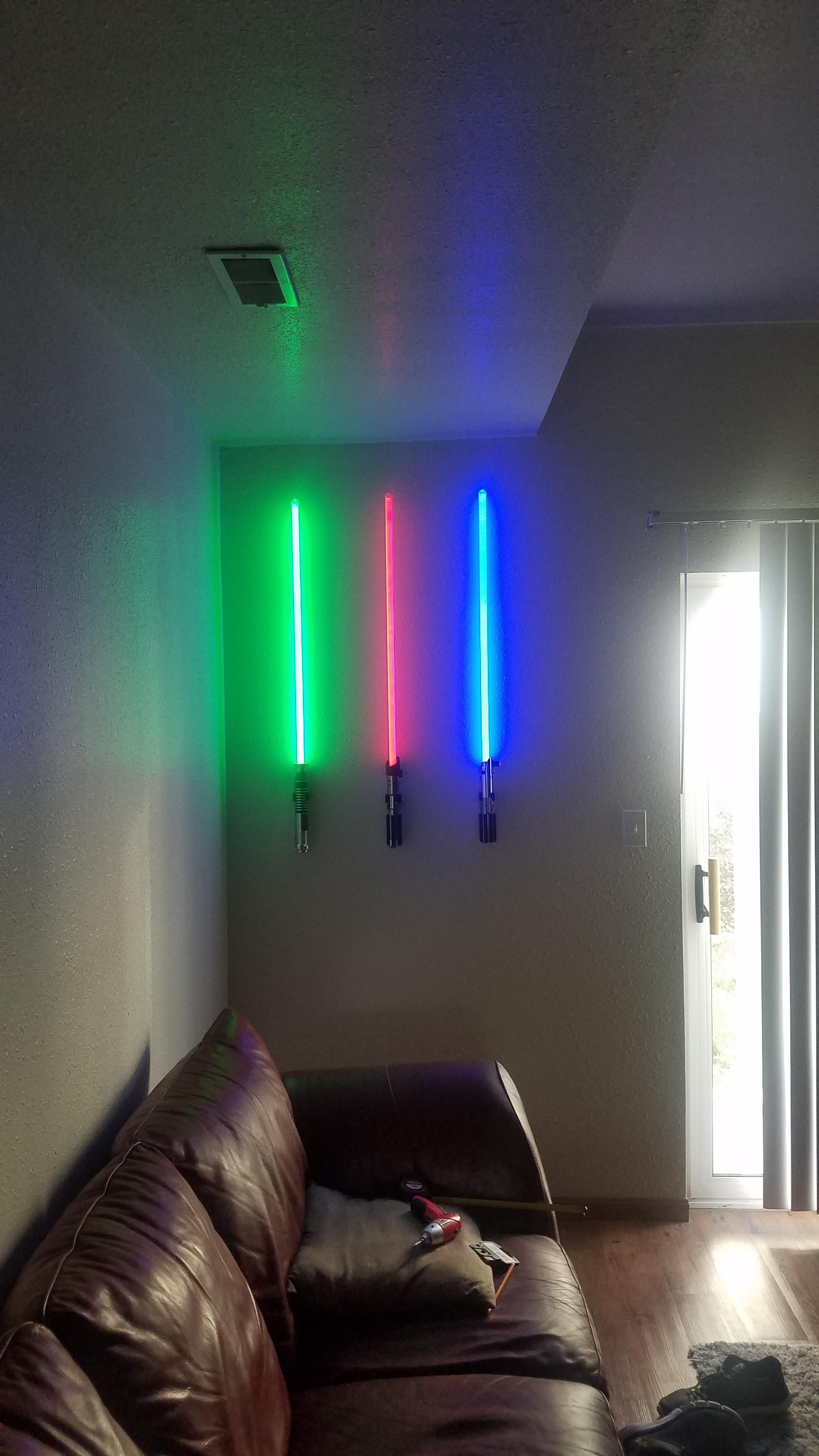 Thought R Starwars Would Appreciate My Wall Mounted Lightsabers Https Ift Tt 2kcmkbd Game Room Design Industrial Apartment Decor Avengers Room