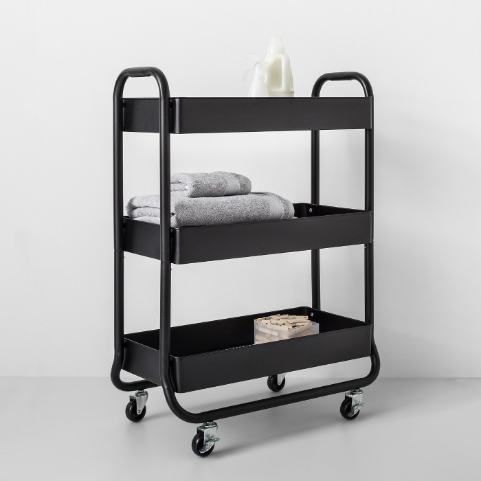 Wide Metal Cart With Wheels Black Made By Design Metal Cart Made By Design Storage Cart