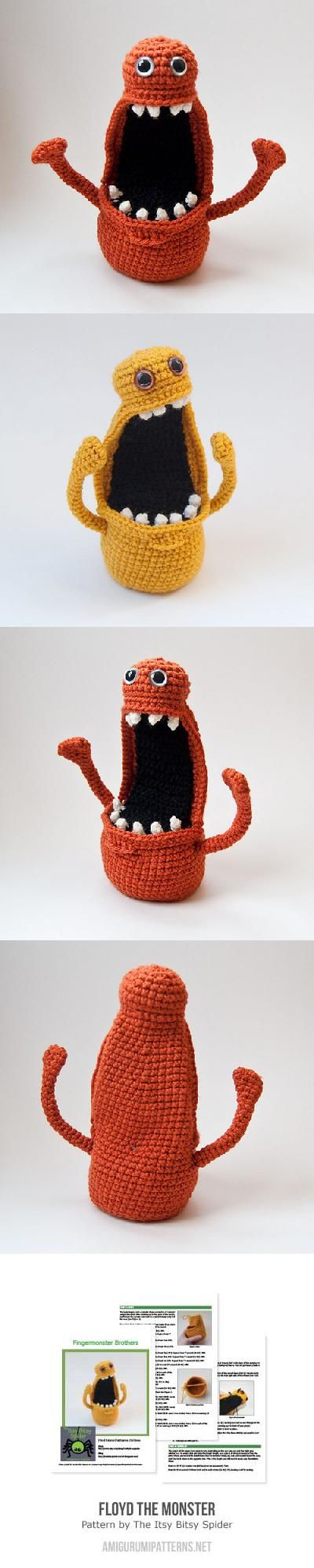 571ecf9b76c60 Floyd the monster amigurumi pattern by The Itsy Bitsy Spider   Knit ...