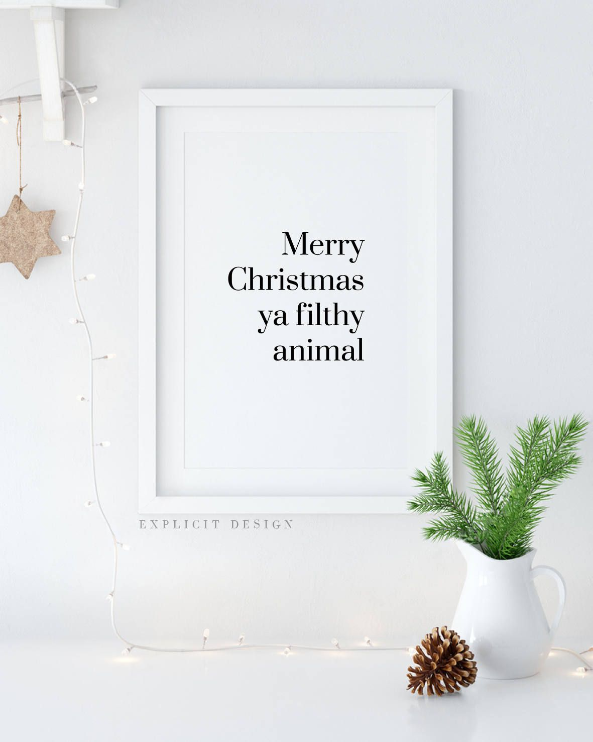 Merry Christmas Ya Filthy Animal Printable, Funny Home Alone Quote Print,  Minimalist Fun Winter