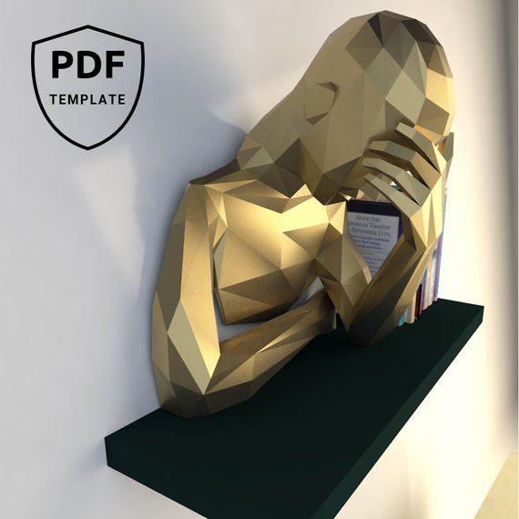 Low poly, Papercraft 3d, Trophée papier, sculpture humaine, déco murale, modèles papercraft, décor maison, décor bureau, plans pdf, activité