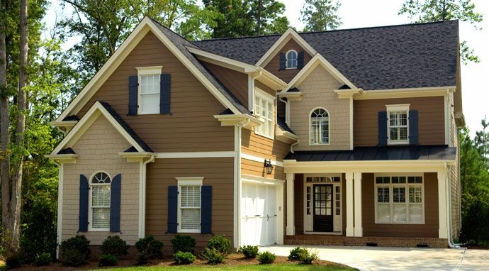 Brown Roof Blue Shutters Google Search Home