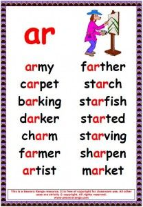 Worksheets Ar Words phonics poster ar words 02 pinterest 02