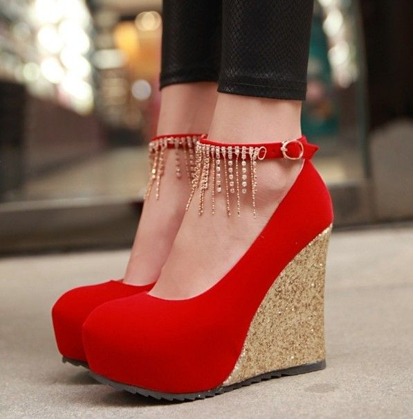 5978f8ab6d5 Fab hot red wedges with golden heels and chain | Wedges | Shoes ...