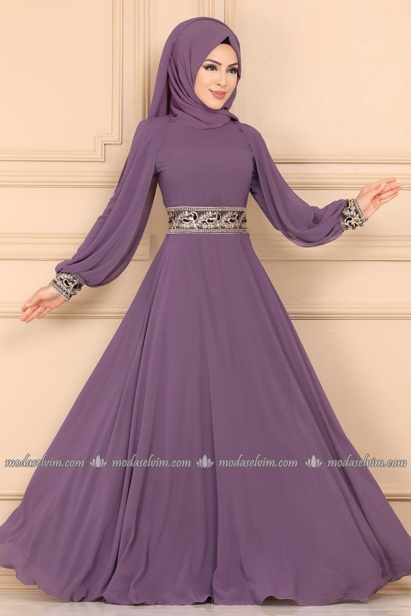 Moda Selvim Kolu Pelerinli Tesettur Abiye 3032ab368 Lila The Dress Elbiseler Moda Stilleri