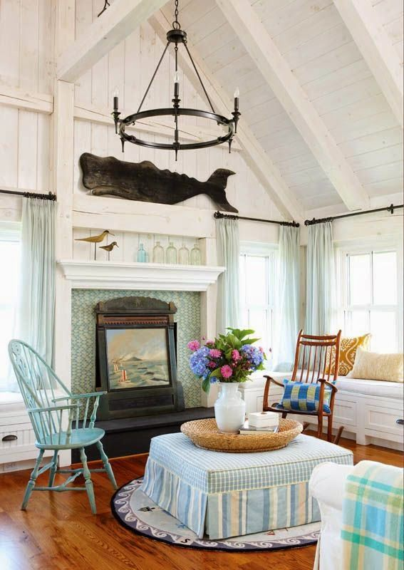 New England Nautical Style Living Rooms