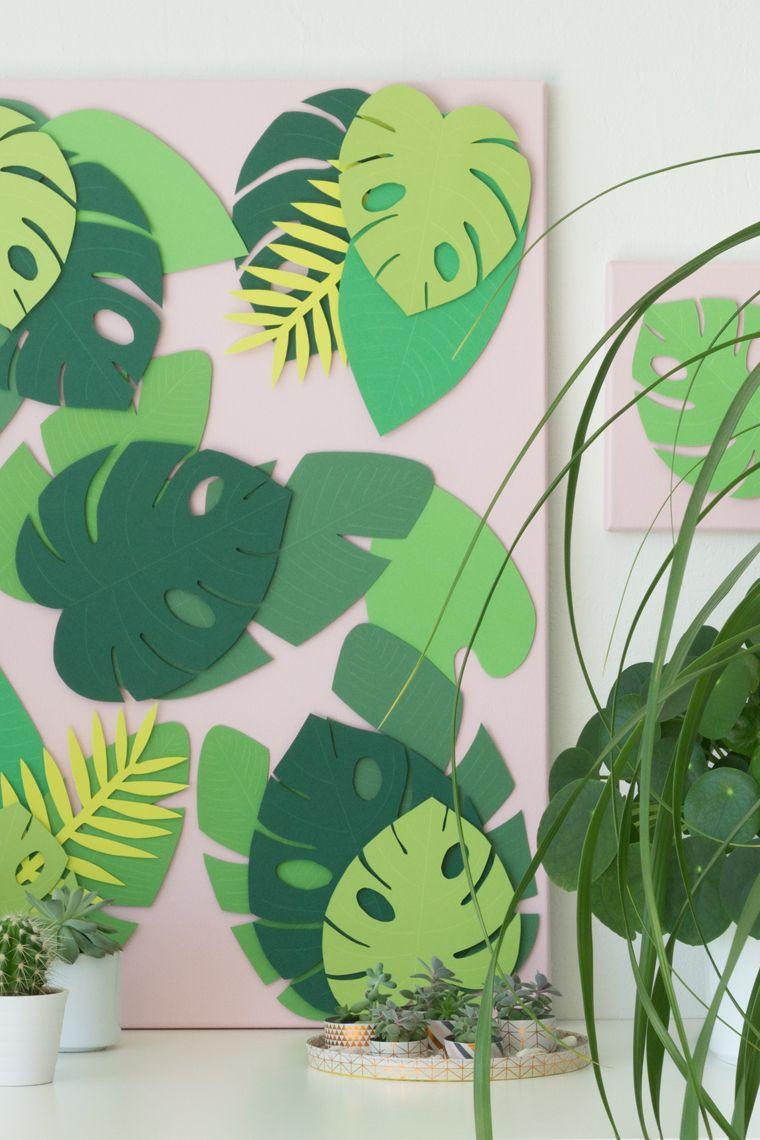 Photo of Sommer dekorasjon: Tropiske blader mal – gjør det selv på lerret