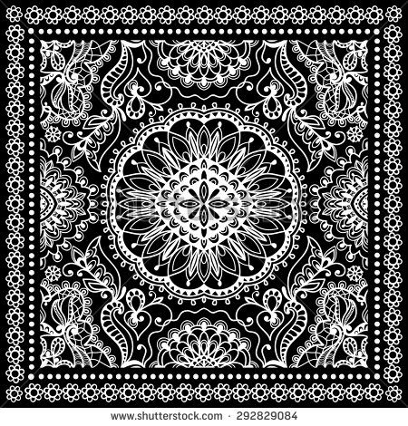 8b5480ca35 Black Bandana Print, silk neck scarf or kerchief square pattern ...