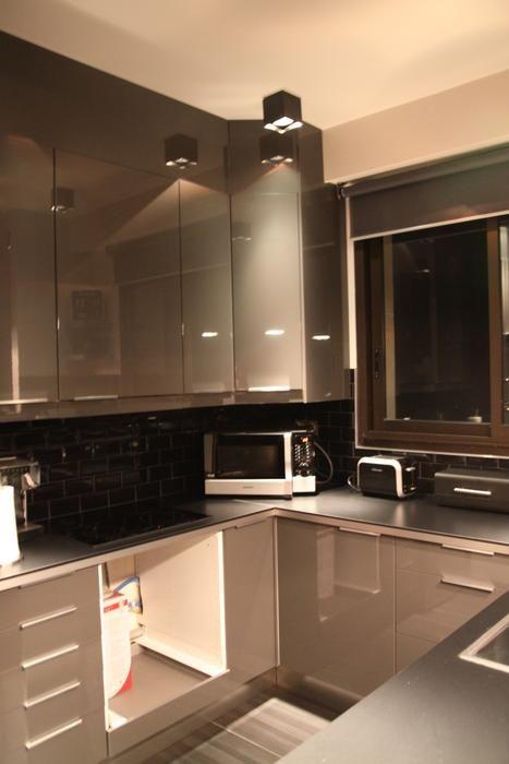 Photo Deco Cuisine Gris Moderne Appartement Masculin Colore - Idee deco cuisine grise pour idees de deco de cuisine