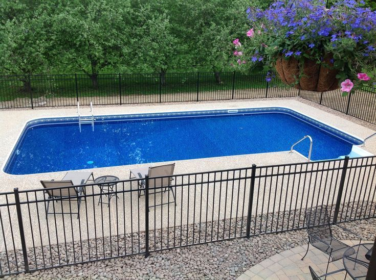 16x32 Inground Pool With Fence Google Search Backyard Pool Landscaping Inground Pool Landscaping Pools Backyard Inground