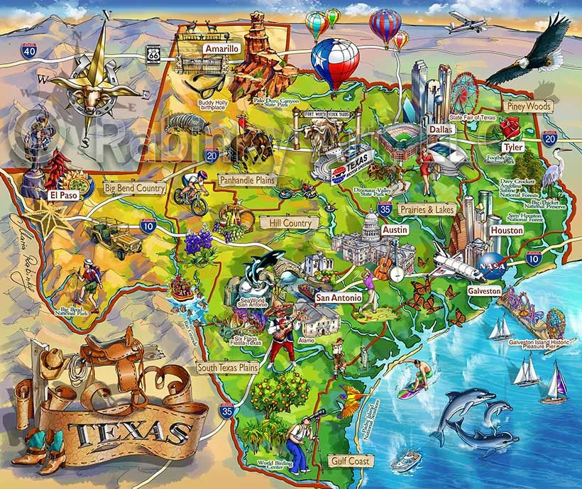 Texas State Map Area Attraction Illustrated Map By Maria Rabinky - Texas maps