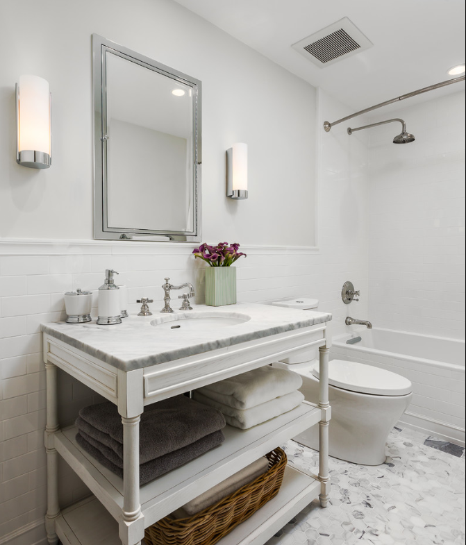 White Marble Tile Floor. White Subway Tile Half Wall With