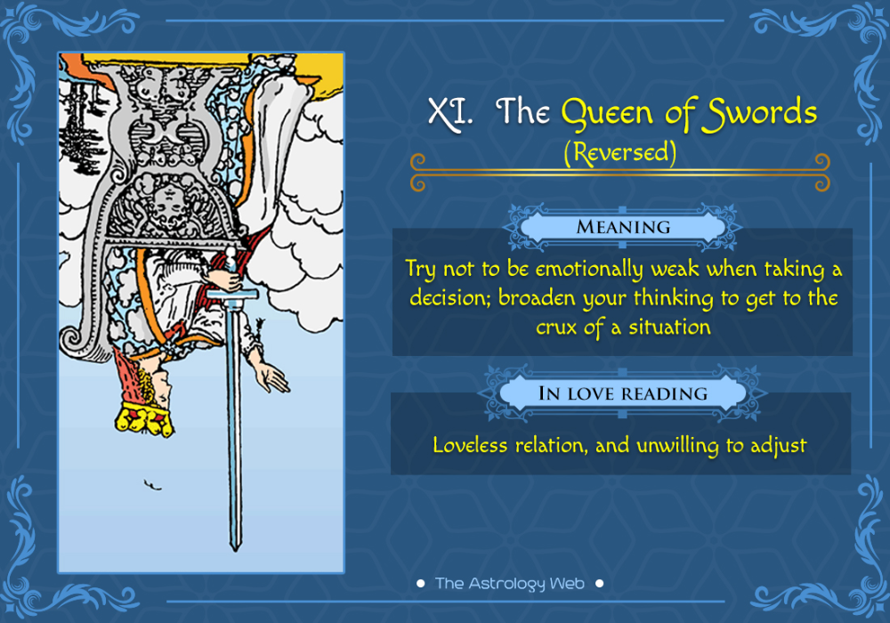 The Queen of Swords Tarot Tarot card meanings reading