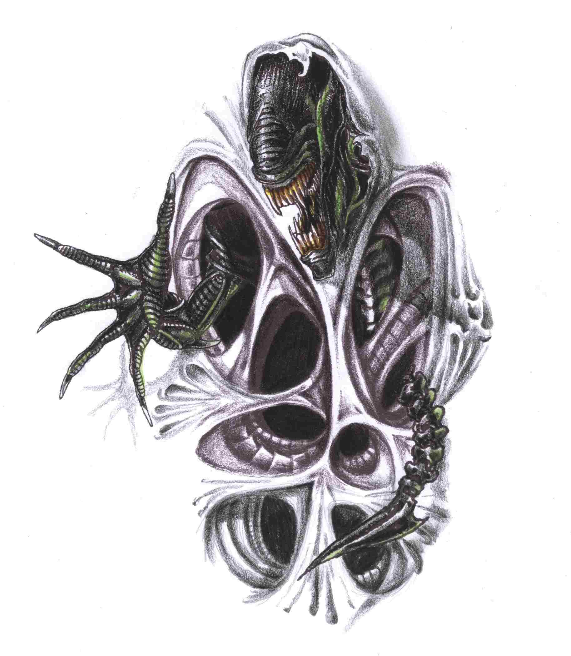 small biomechanical tattoo drawings google search tattoos pinterest alien tattoo reaper. Black Bedroom Furniture Sets. Home Design Ideas