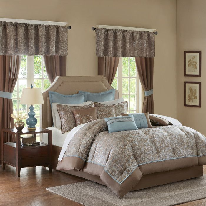 New Elegant Taupe Faux Silk Tufted Comforter Window 24 pcs set Cal King Queen