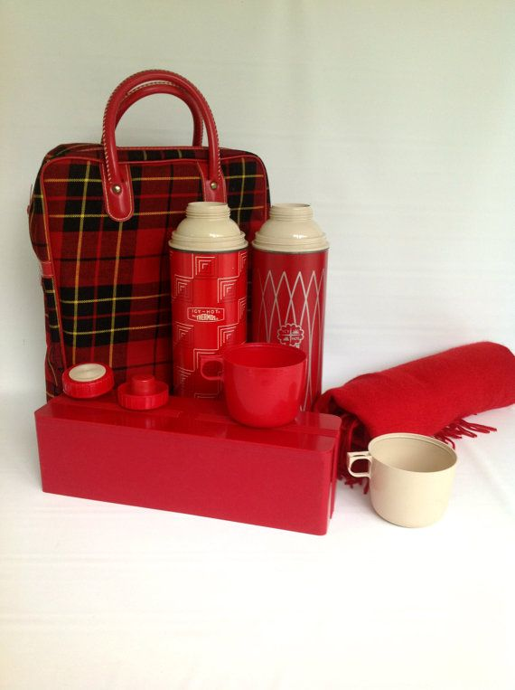 Vintage Thermos Tote Set 1960s Four Piece by SophiasWonderland