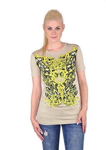 VERSACE Versace Jeans Women'S Short Sleeve Print T-Shirt Sand. #versace #cloth #