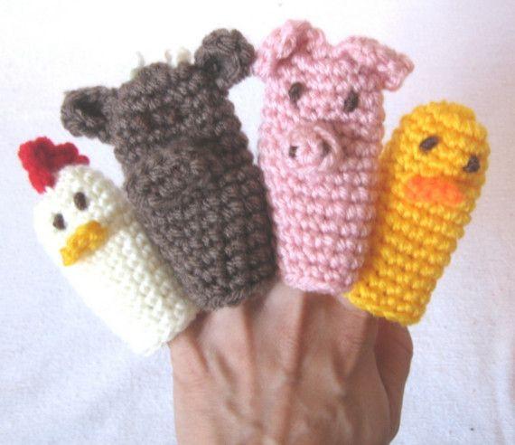 Easy Finger Puppet Knitting Pattern : Farmyard finger puppets free crochet pattern