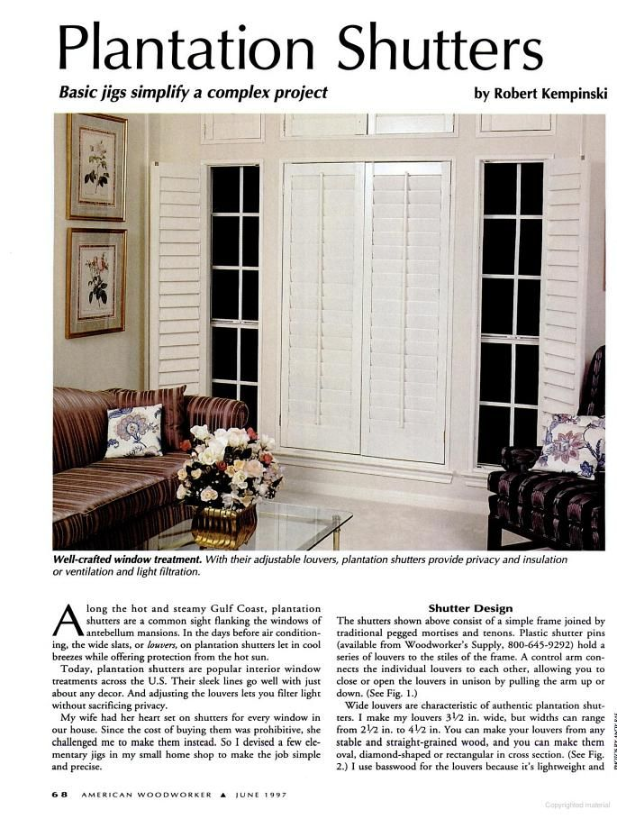 Diy Plantation Shutters American Woodworker Google Books