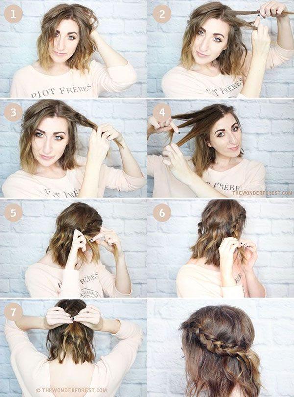 Cute Braids For Medium Length Hair Short Hair Styles Hair Styles Short Hair Tutorial