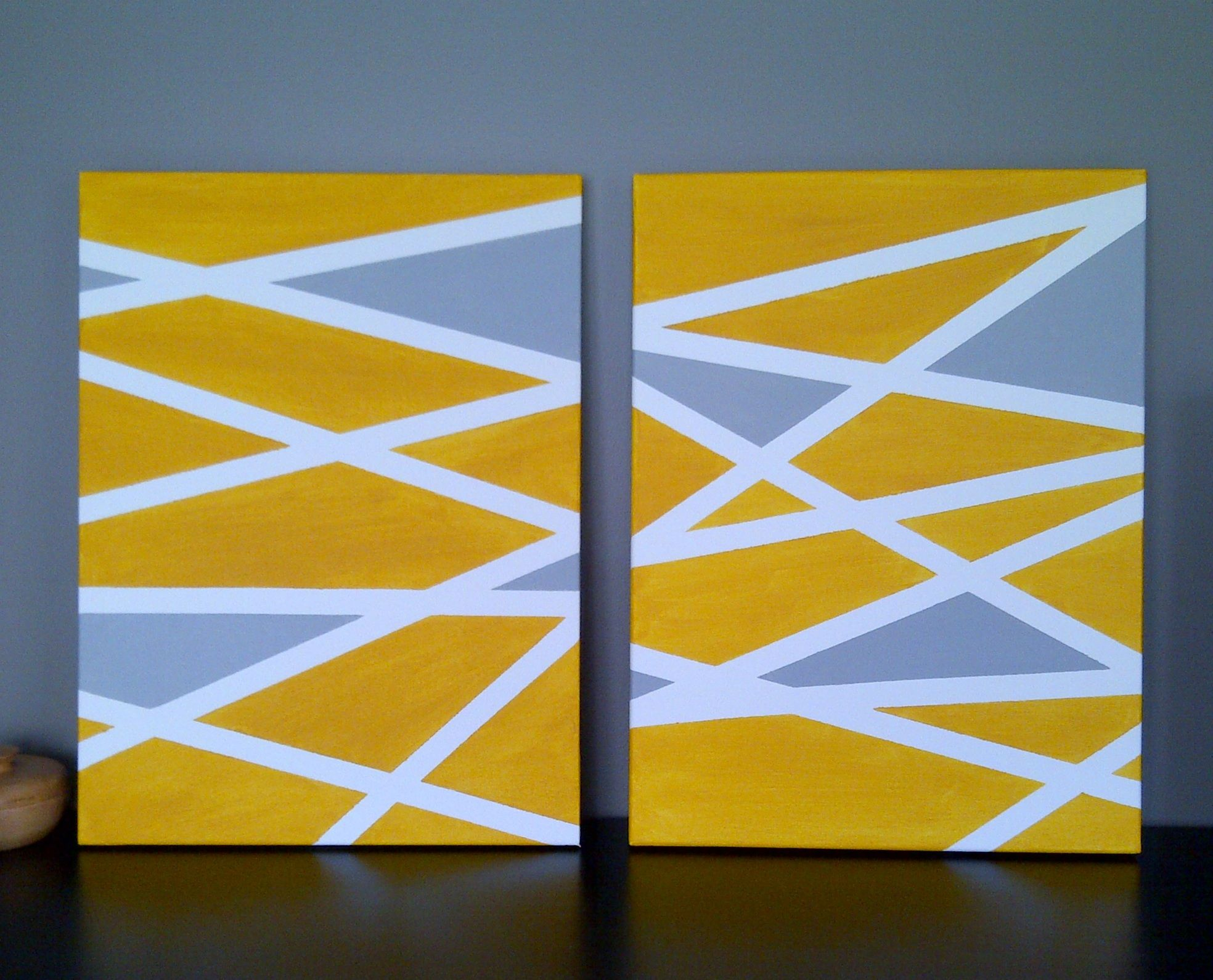 DIY geometric art on canvas using painter\'s tape and acrylic ...