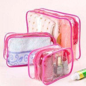 ea28b60ba08f 3PCS Set Waterproof Transparent Cosmetic Bag Women Portable Toiletry Kits  Cosmetic Organizer Brand Make Up Bags Free Shipping