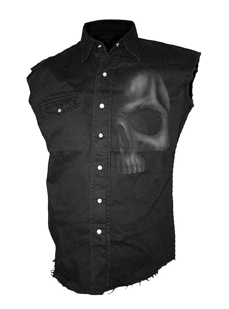 SPIRAL DIRECT SHADOW crâne sans manches Stone Washed travailleurs Shirt