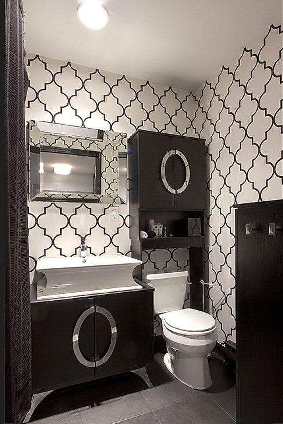 Self Adhesive Vinyl Temporary Removable Wallpaper Wall Decal Classic Moroccan Pattern Bathroom Wallpaper Black And White Trendy Bathroom Bathroom Wallpaper