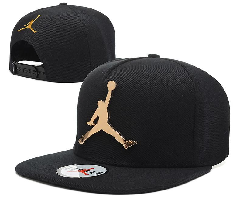 1801d0d9d14 Mens Air Jordan The Jumpman Iron Gold Metal Logo A-Frame 2016 Big Friday  Deals Snapback Cap - All Black