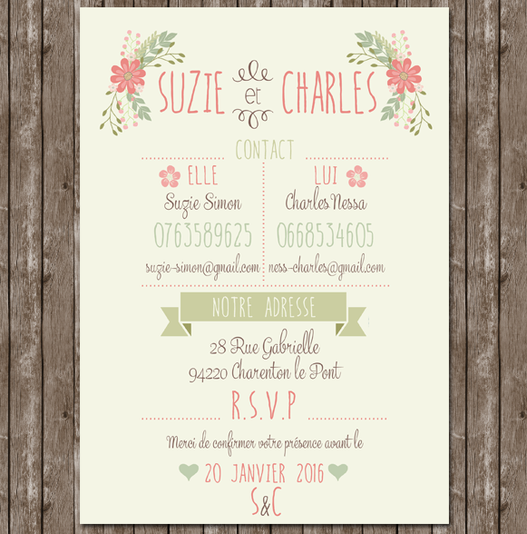 faire part mariage invitation programme doux pastel. Black Bedroom Furniture Sets. Home Design Ideas