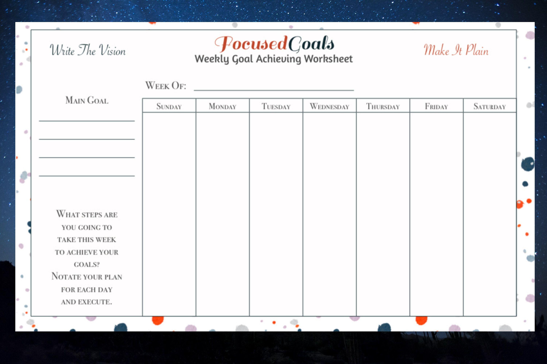 Focused Goal Achieving Worksheet Printable Printable
