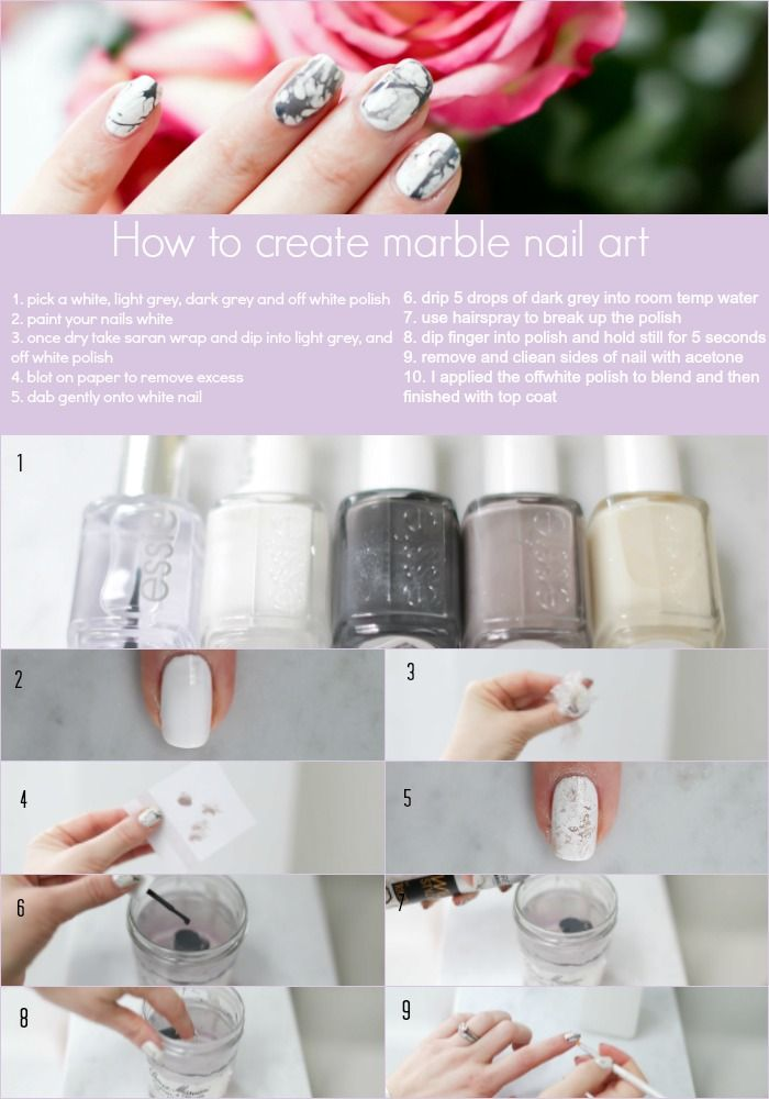 Mani Monday Marble Nails Tutorial Marble Nails Marble Nail Art