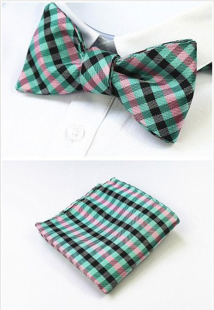 c84ba902b730 GUSLESON New Design Self Bow Tie And Hanky Set Silk Jacquard Woven Men  Butterfly BowTie Pocket Square Handkerchief Suit Wedding
