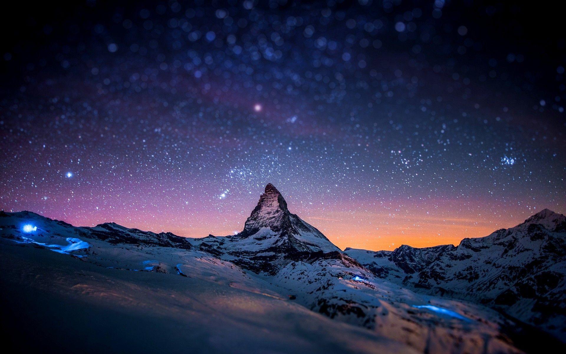Wallpaper Cielo De Noche Con Estrellas Monte Cervino Alpes Suizos Fondos De Escritorio Windows Fondos De Escritorio Fotografia Paisaje