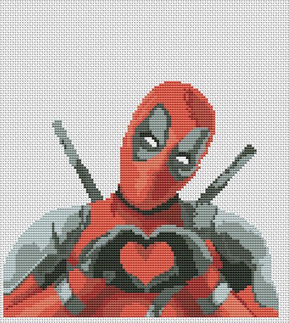 Deadpool heart cross stitch pattern pdf