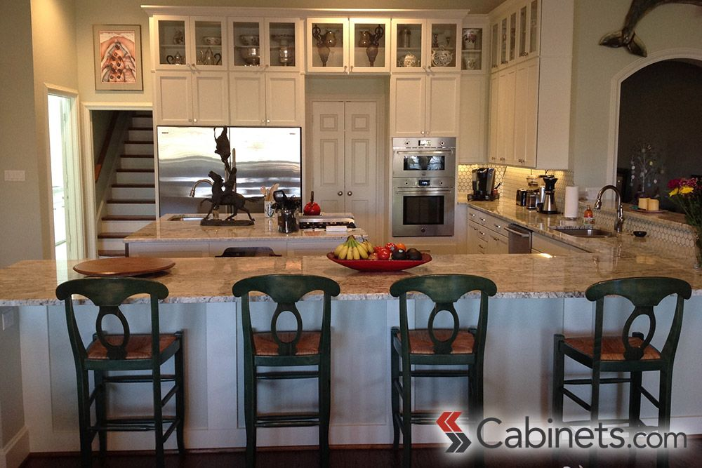 Large remodeled u shaped kitchen with shaker style for Alabaster kitchen cabinets