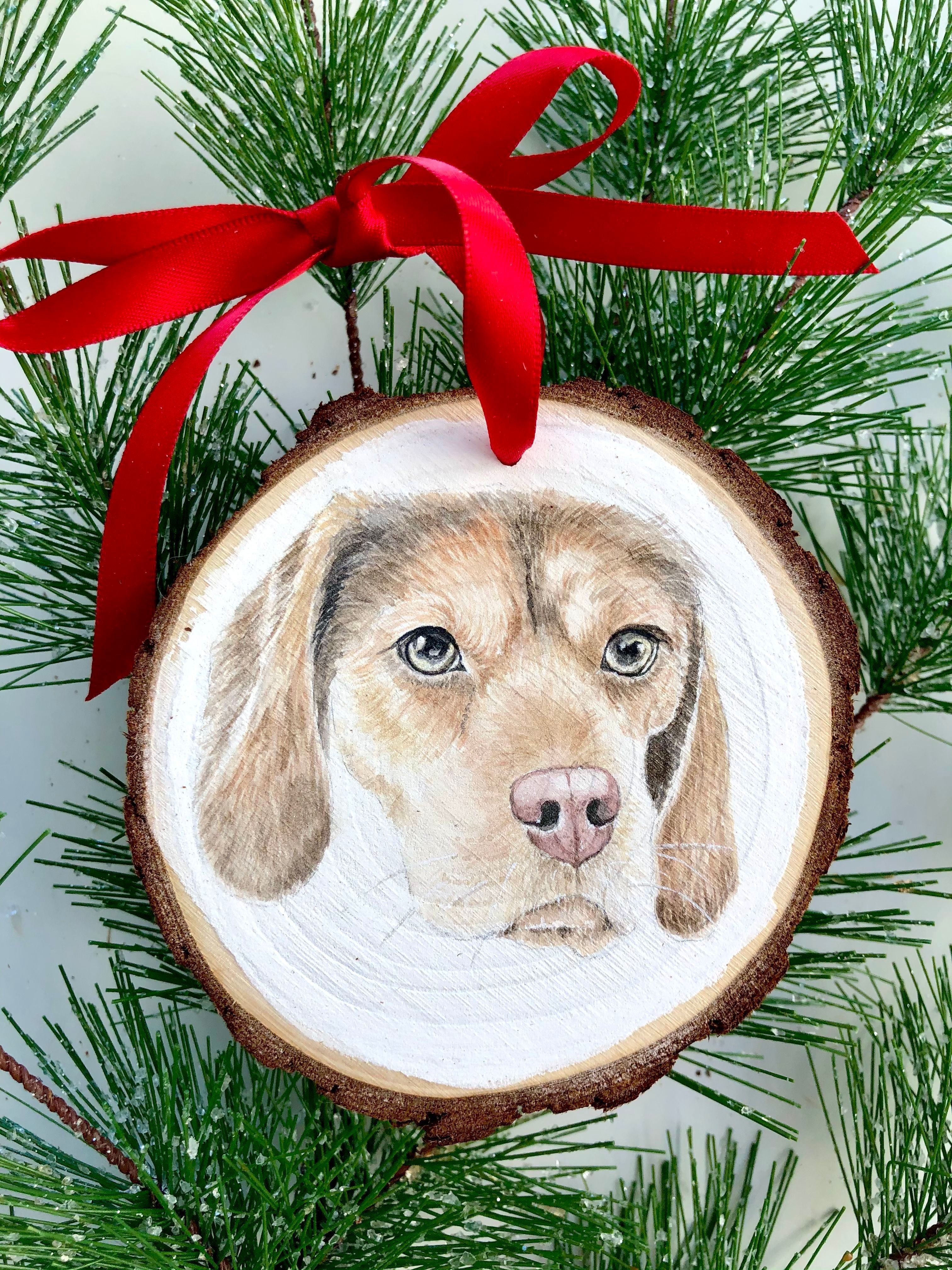 Dog Birthday Picture on Wood Cat Memorial Dog Lover Gift Custom Dog Cat Portrait Wood Slice Photo Ornament Dog Art Gift Photo On Wood