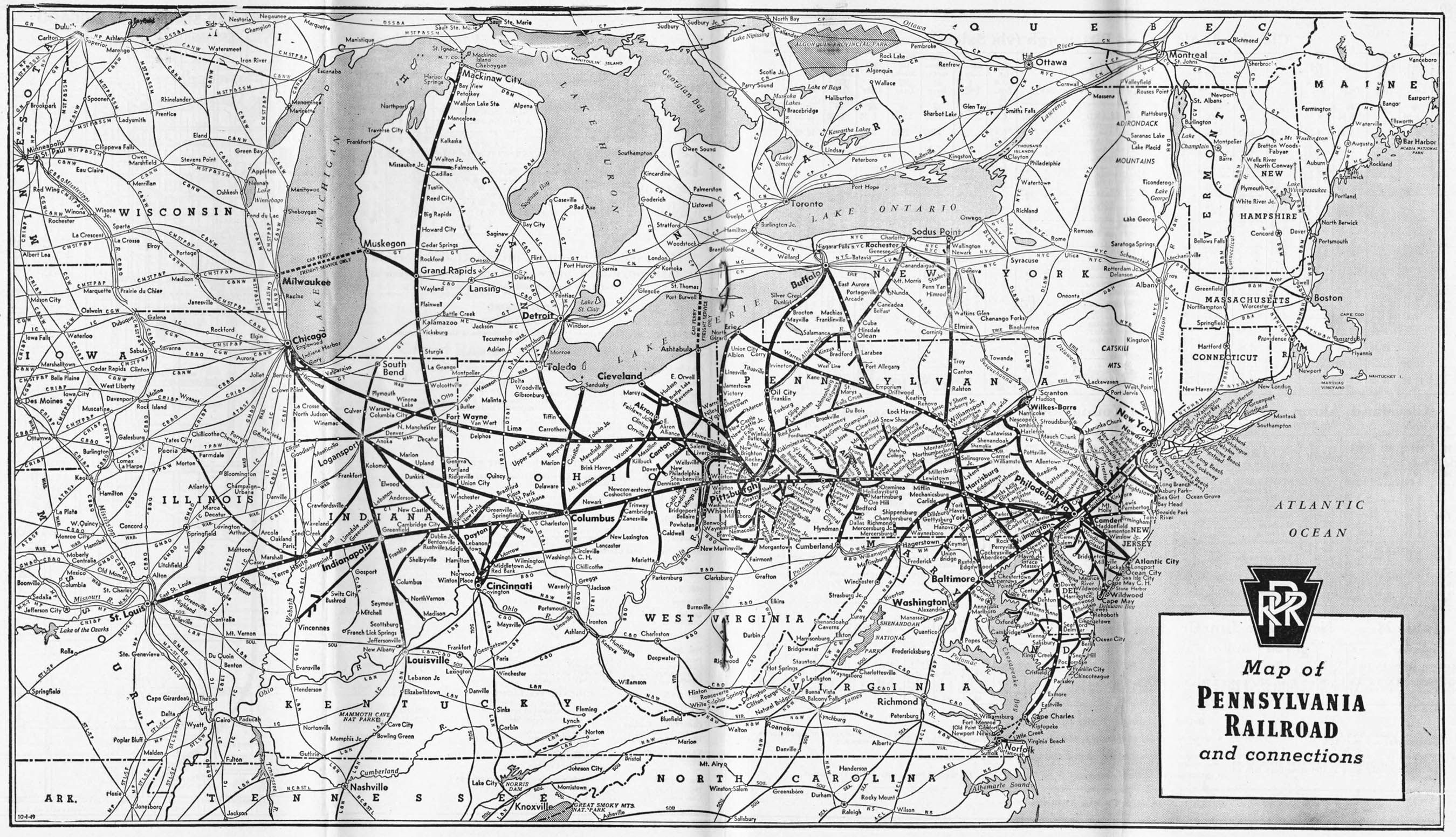 Pennsylvania Railroad Map The Pennsylvania Railroad which regarded itself as the Standard  Pennsylvania Railroad Map