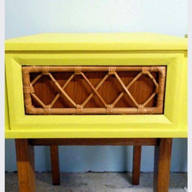 Paire De Chevets En Rotin Et Chene Chevet Table D Appoint Table Meubler Deco Vintage Mobilier De Salon Chene