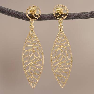 ace618608 Glistening Waves Gold Plated Silver Filigree Dangle Earrings from Peru