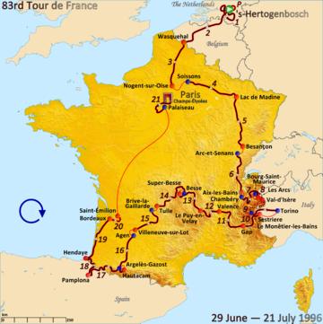 Bildresultat för tour de france 1996 race map