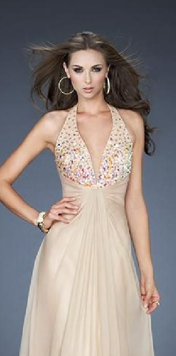 Fashion Long Column Halter Sleeveless Champagne Prom Dress lkxdresses16542xdf #longdress #promdress