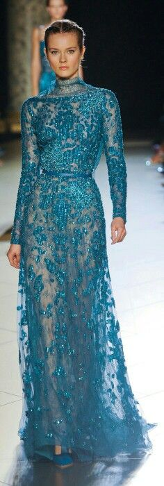 Turquoise gown.