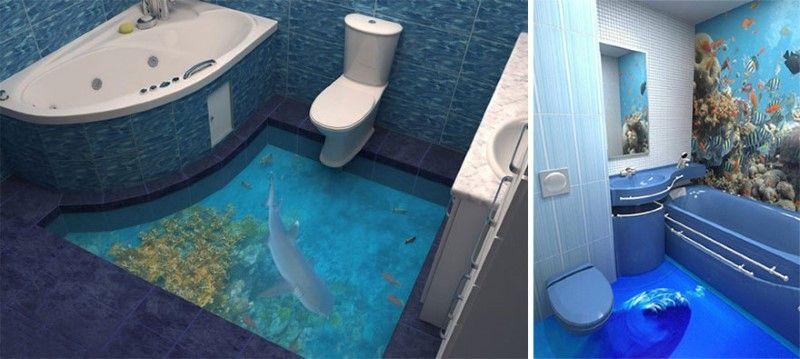 Diese 3d Bodenbelage Verwandeln Dein Badezimmer In Einen Ozean Badezimmerboden 3d Bodenbelag Bodengestaltung