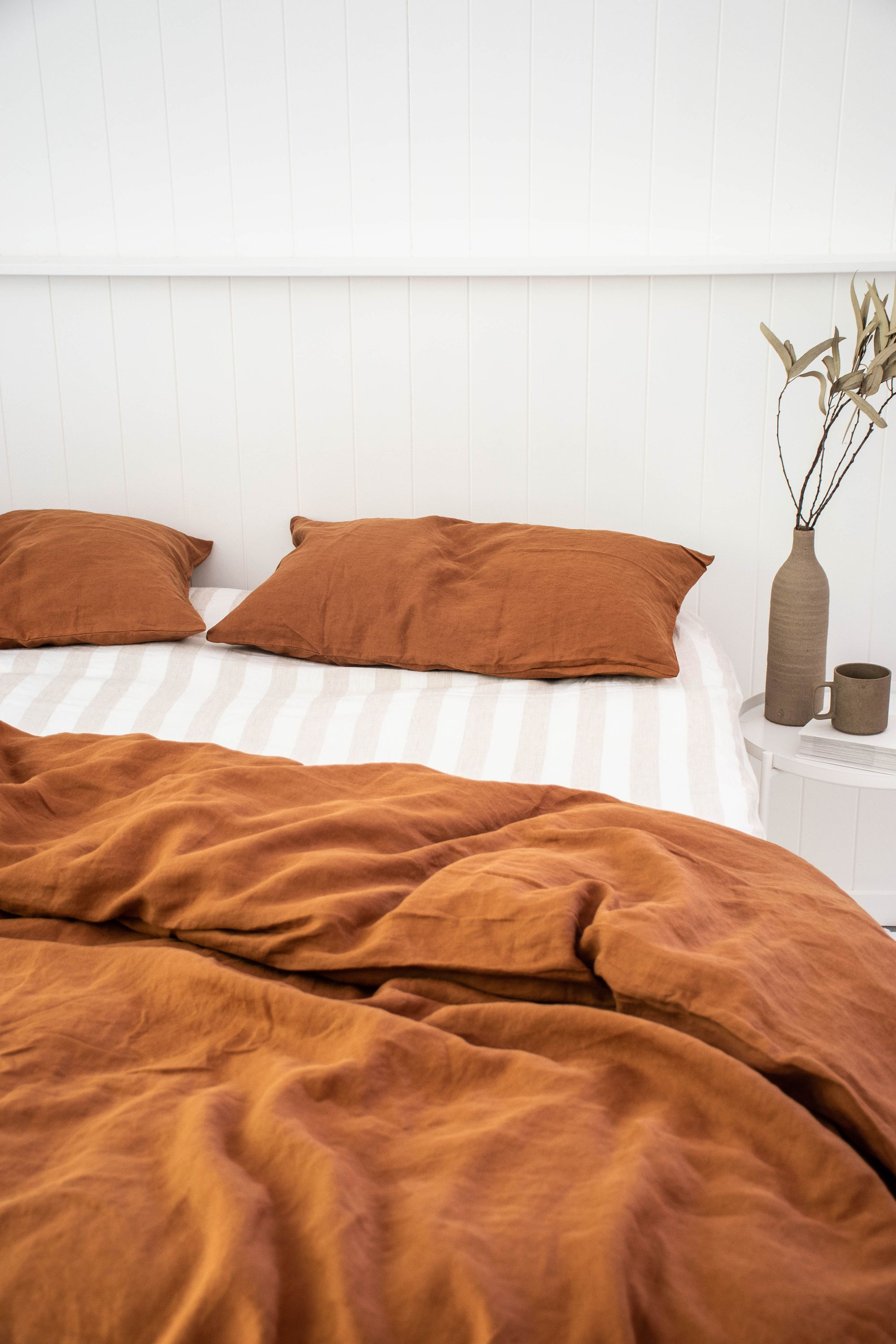 Nothing Beats Ochre Natural Thick Striped 100 Pure French Flax Linen Bedding Sourced From France And Delivered Pure Linen Bedding Pink Sheets Linen Sheets