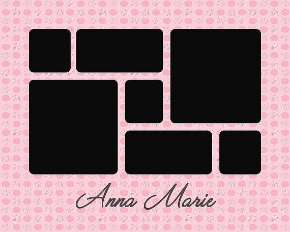 Baby Template Name Collage Storyboard 7 Openings Pink Polka Dot