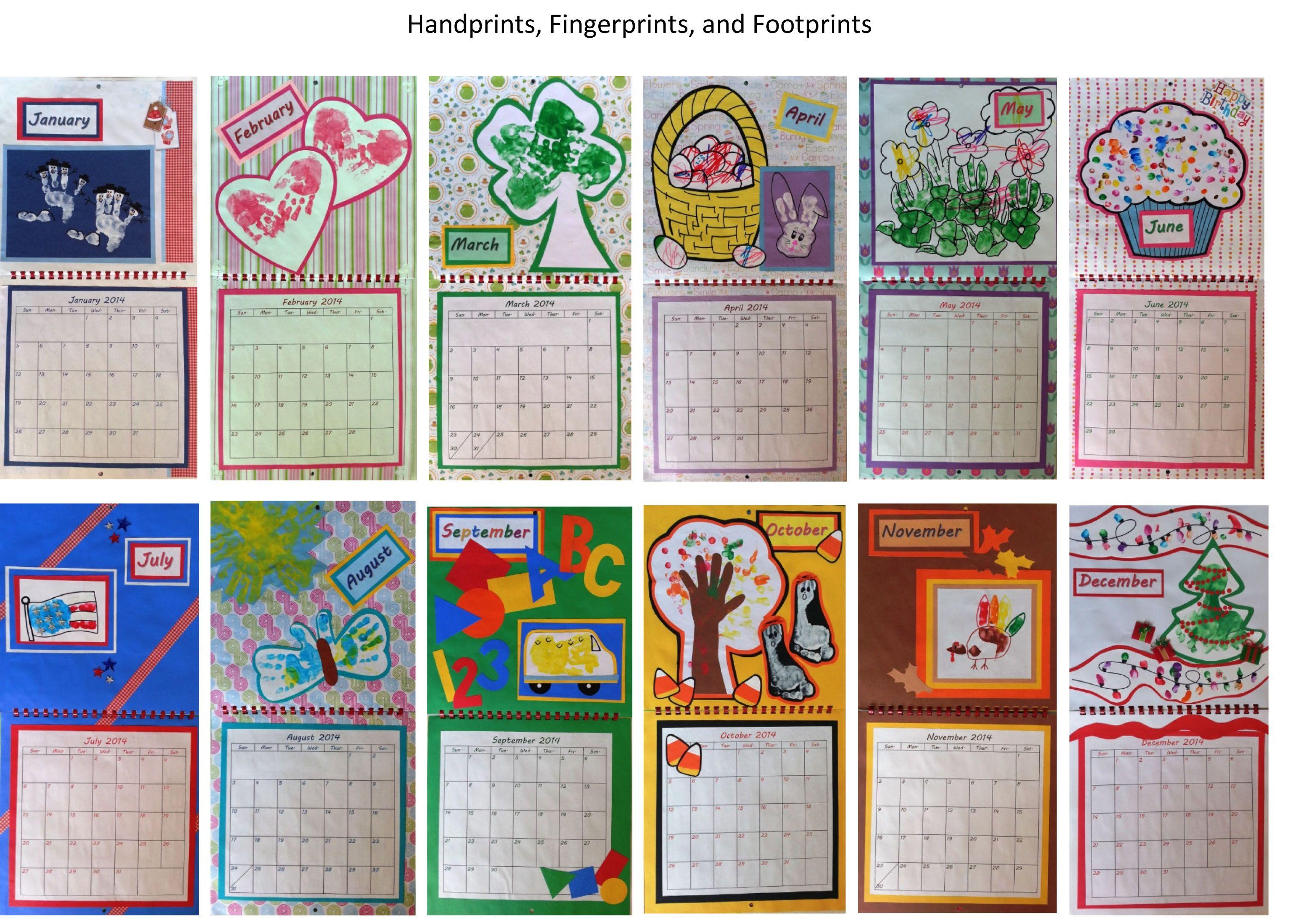 Calendar Made By Kids : Calendar made from hand print foot and fingerprint